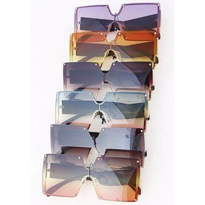 Oversized Square Frame Mix Tone Lens Sunglasses